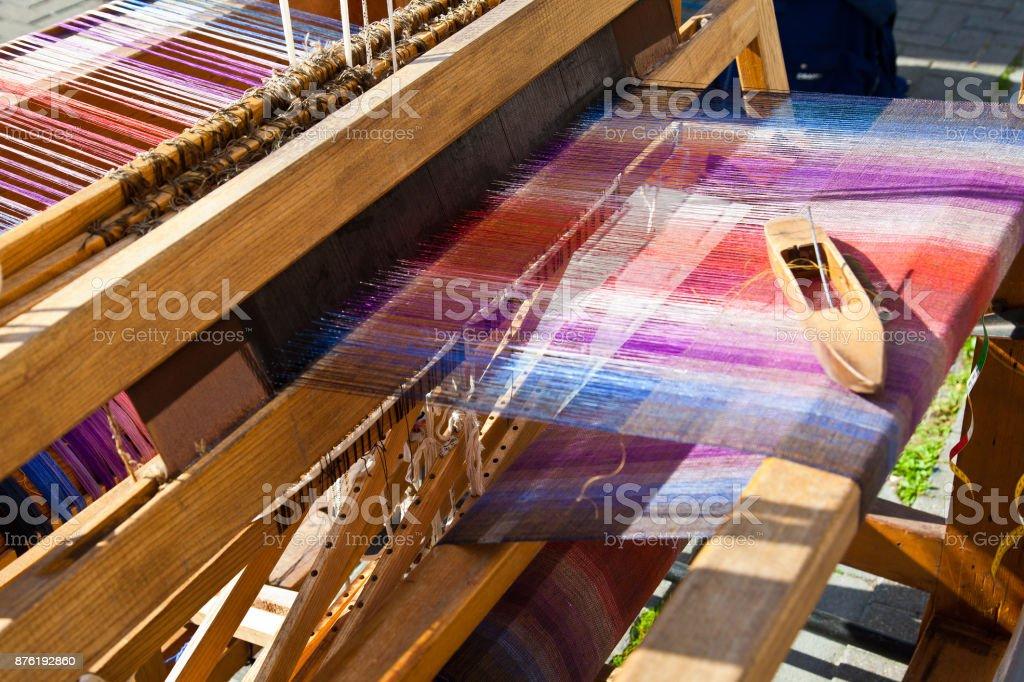 Old weaving loom stock photo