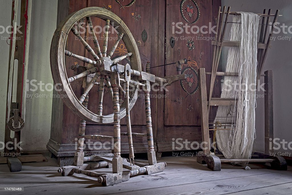 Old weaving room stock photo