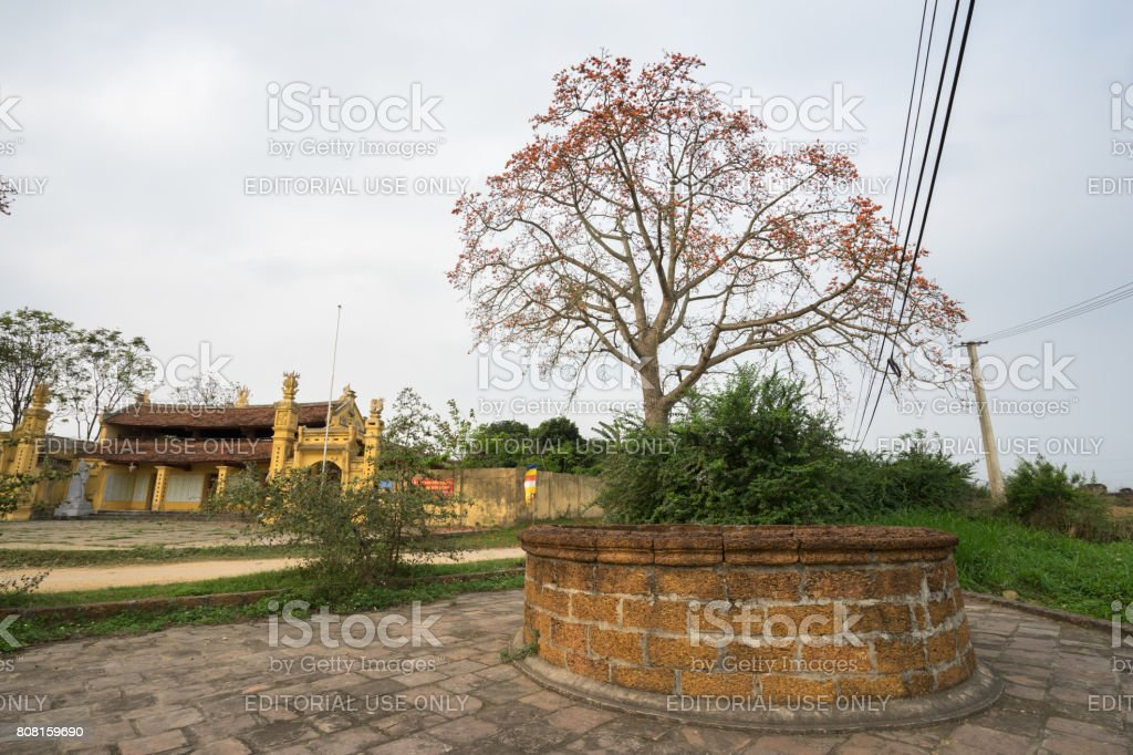 Old well with temple stock photo
