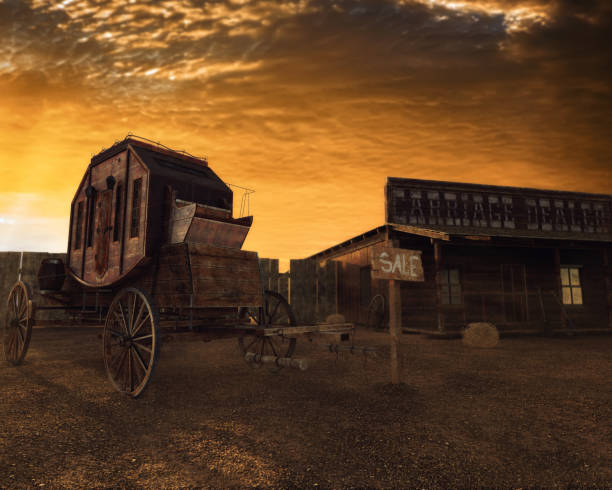 old west 3d illustration, carriage and house at sunset - west direction stock pictures, royalty-free photos & images