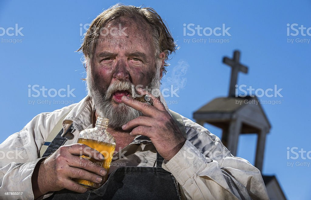 Old West Drunk stock photo