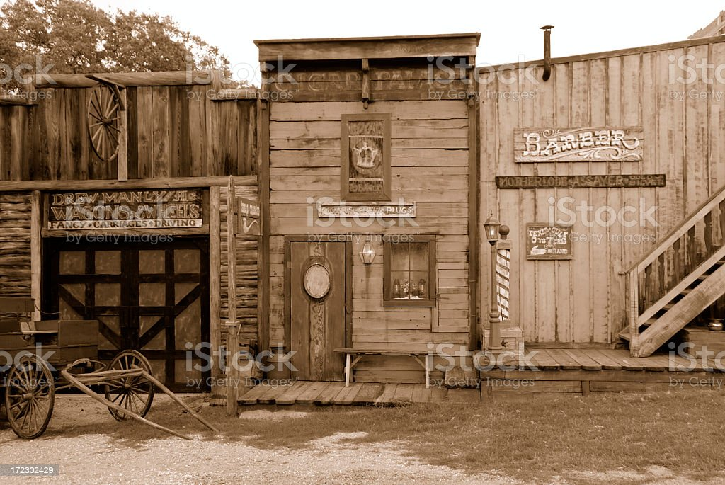 Old west saloon and barber shop stock photo