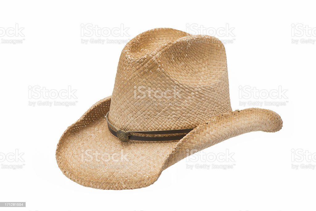 Old West straw Cowboy hat-isolated on white stock photo