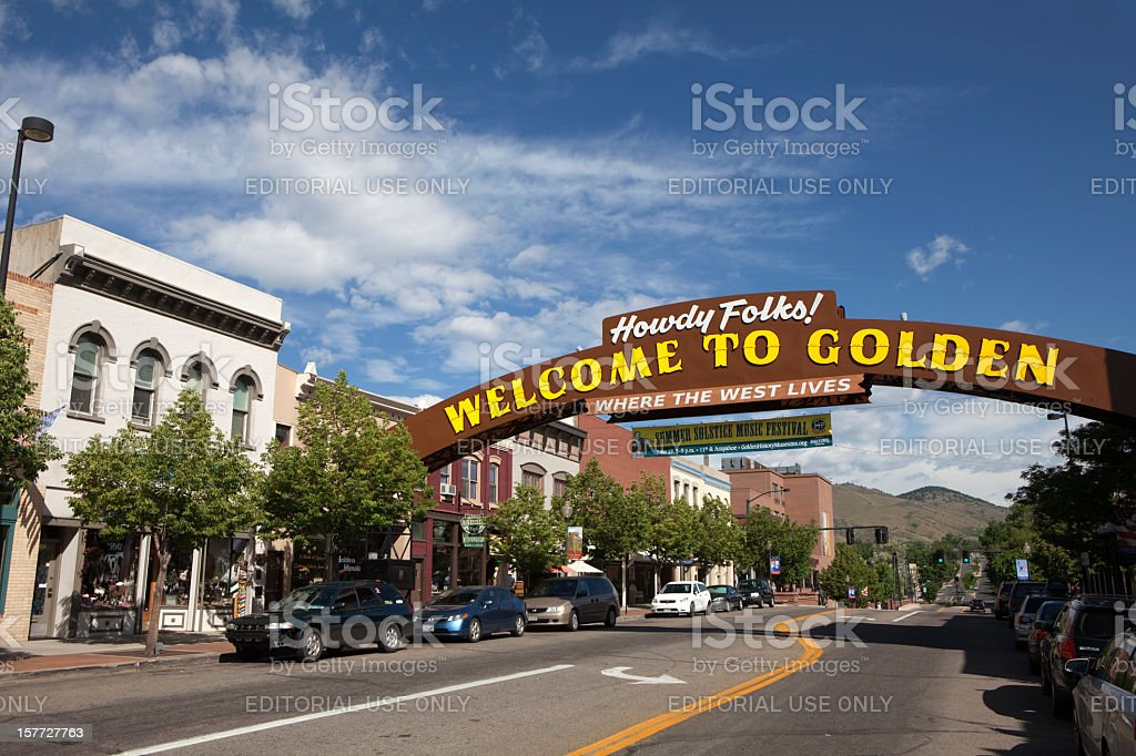 Old West Victorian Buildings with Welcome to Golden Sign Colorado stock photo
