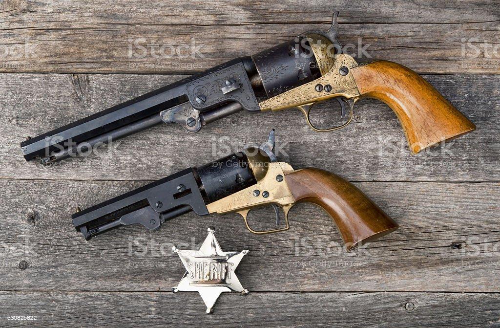 Old Western Guns. stock photo
