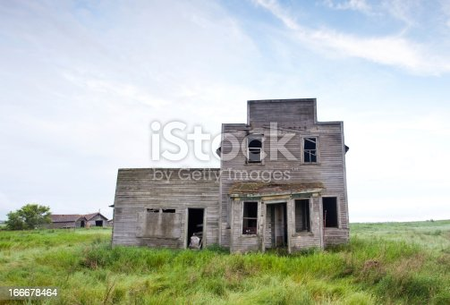 An old abandoned store on the plains.