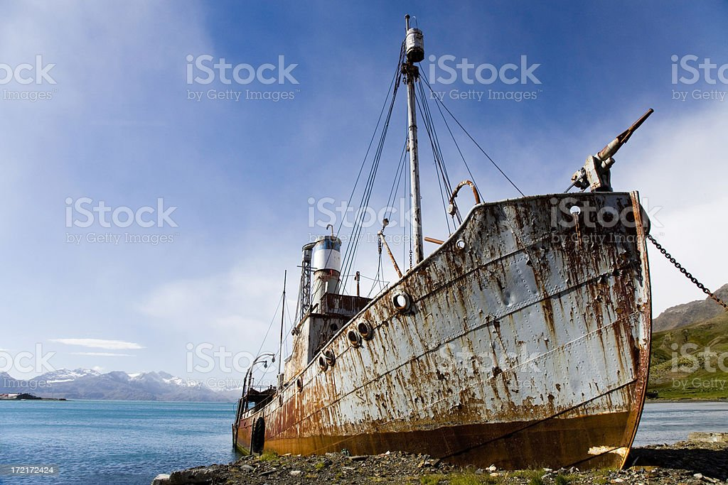 Old Whaler Ship Grytviken South Georgia royalty-free stock photo