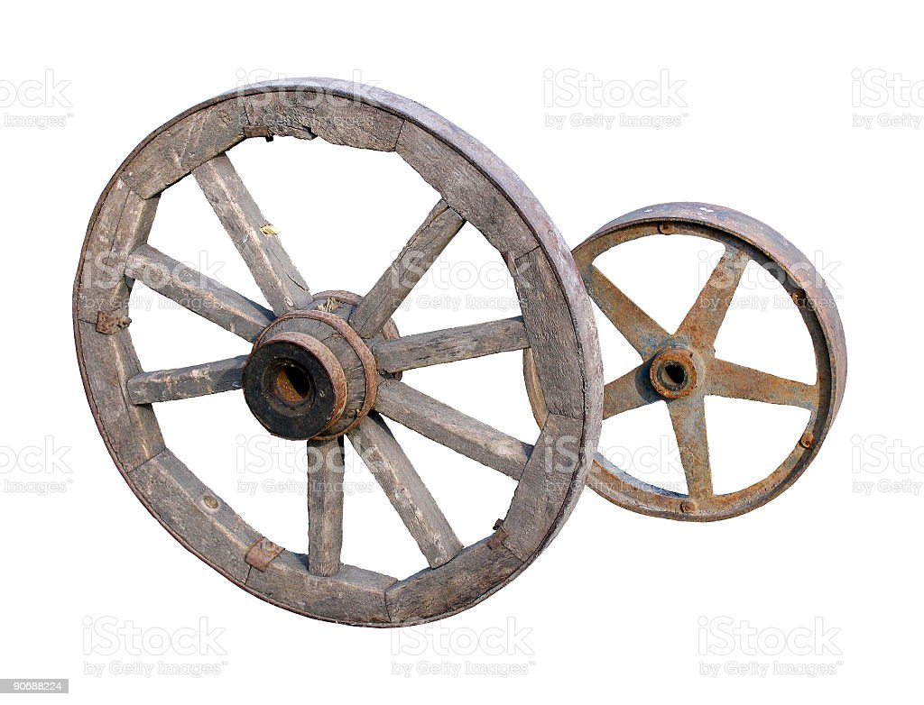 Old wheels on white stock photo