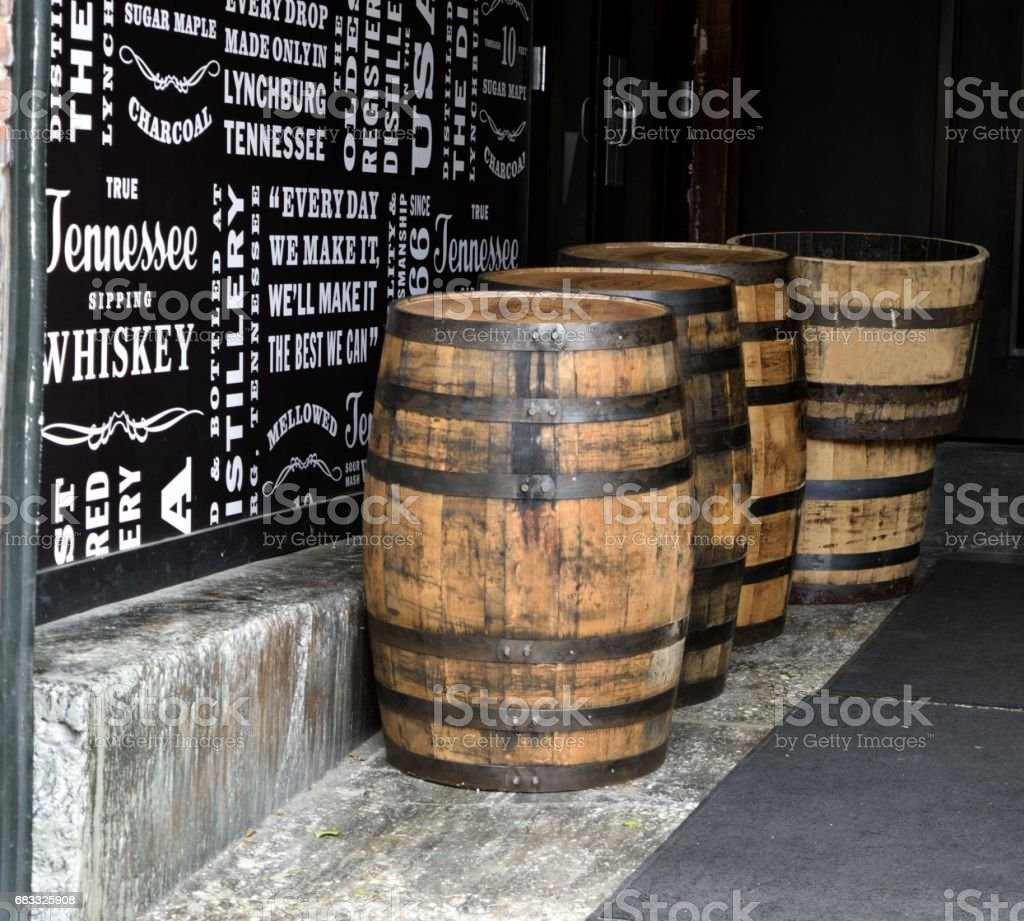 Old Whiskey Barrels stock photo