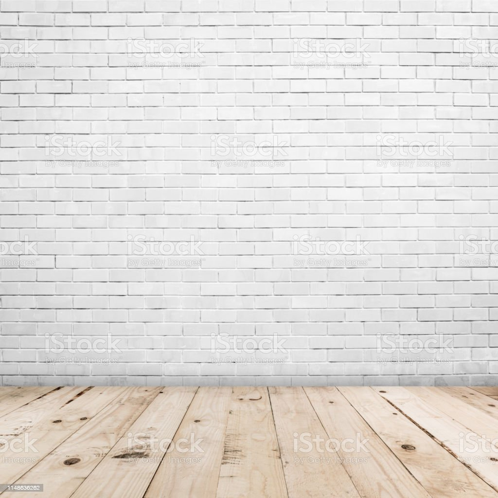Old White Brick Wall And Wood Floor Background And Texture With Copy Space Stock Photo Download Image Now Istock