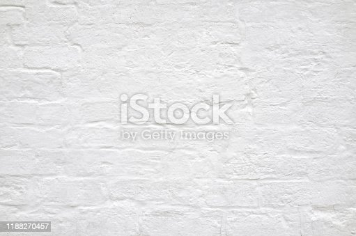 Old white brick wall texture background, full frame