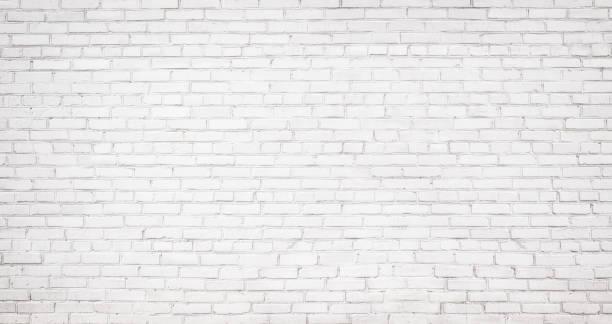 old white brick wall background, vintage texture of light brickwork stock photo