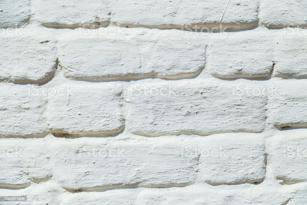Old white brick wall texture stock photo