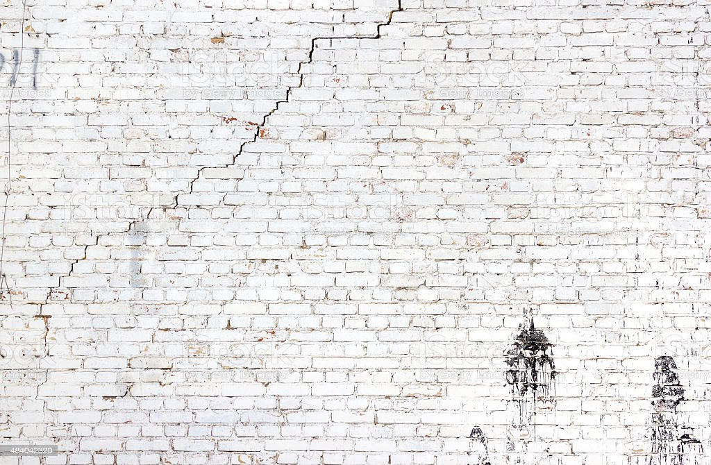 Old White Cracked Brick Wall Background Stock Photo More