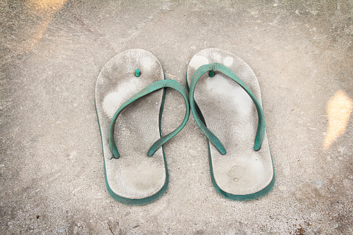 Old White Green Plastic Sandals Stock Photo - Download Image Now