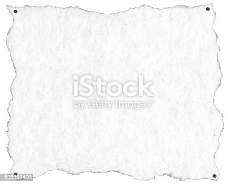 924754302 istock photo Old White Paper with Nails 538393403