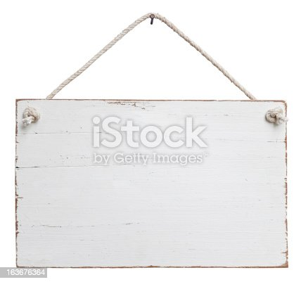 Rectangular wooden signboard painted in white and featuring an old, weathered look.  The wooden board features light brown edges and hangs by an off-white rope from a nail set at the top-center of the image.  This composite image is isolated on a white background and includes a clipping path.