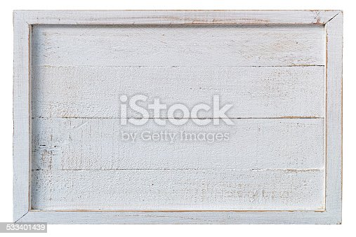 Old white weathered framed wooden panel. Composite image, isolated on white, clipping path included.