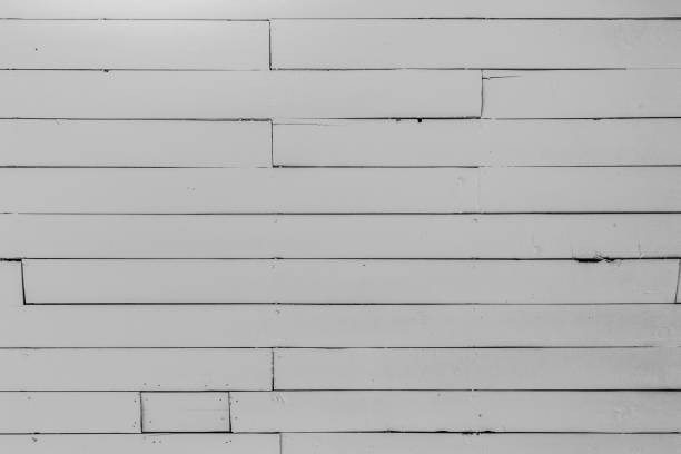 Old White Wood Boards on Ceiling stock photo