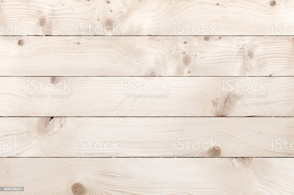 Old white wood planks background with knots stock photo
