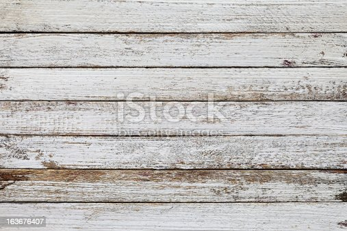 istock Old white wooden board background texture. 163676407