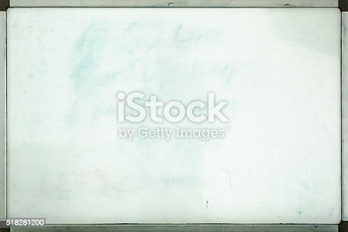 istock Old whiteboard for office with traces of stains and spots 518281200