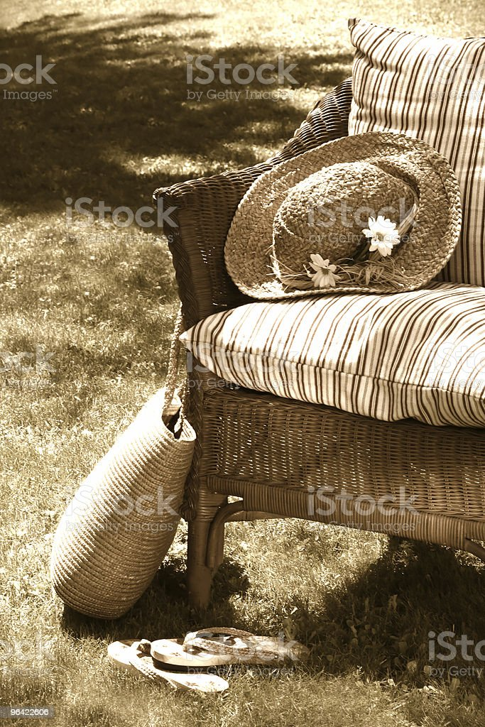 Old wicker chair royalty-free stock photo
