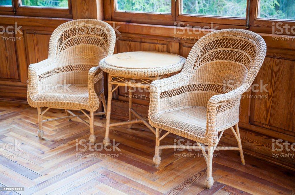 Old wicker chairs zbiór zdjęć royalty-free