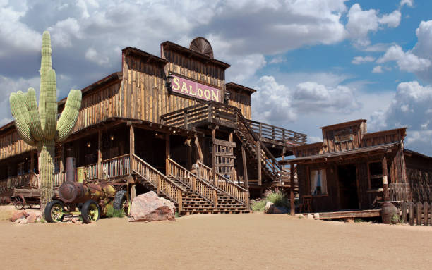 old wild west cowboy town - west direction stock pictures, royalty-free photos & images