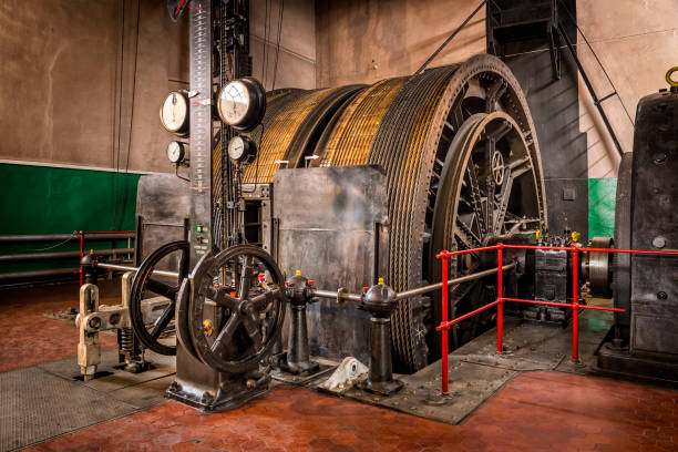old winding engine in coal mine - industrial revolution stock pictures, royalty-free photos & images