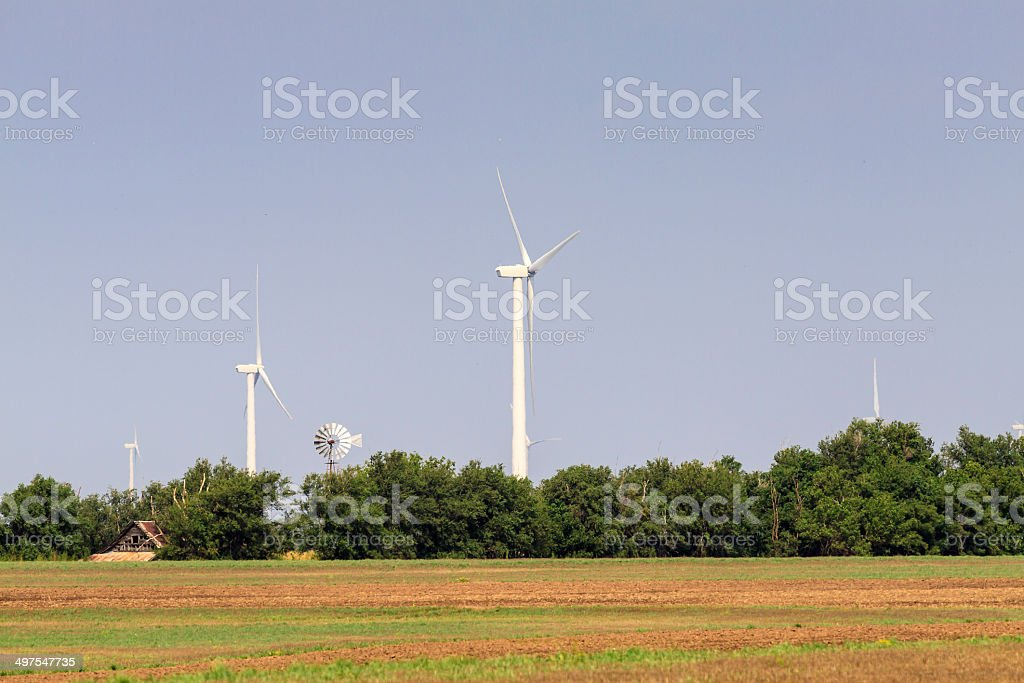 Old Windmill and New Windmill royalty-free stock photo