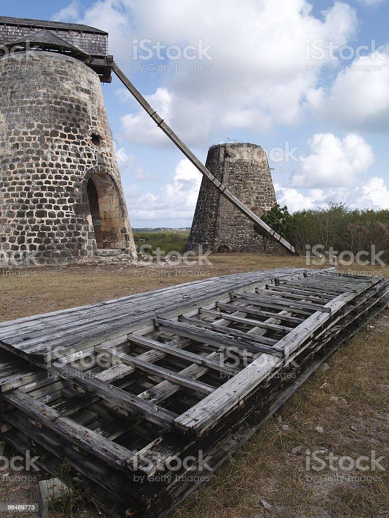 Old Windmill at Bettys Hope Plantation on Antigua Barbuda royalty-free stock photo