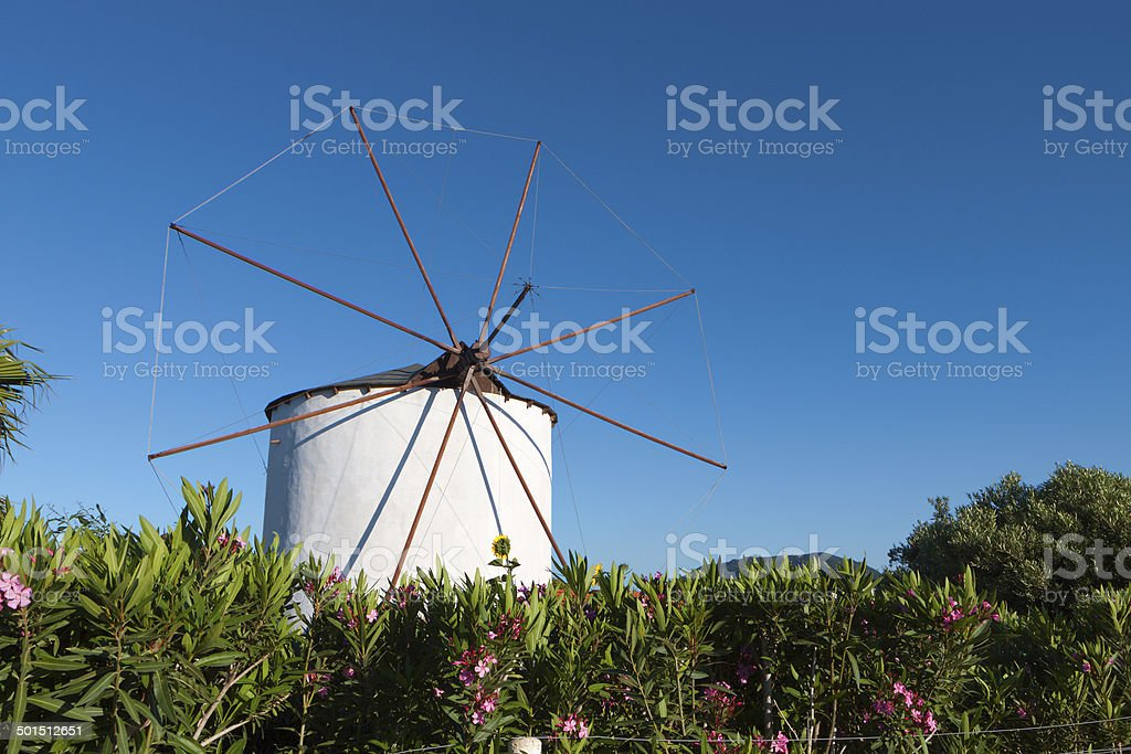 Old windmill at Kos island in Greece stock photo