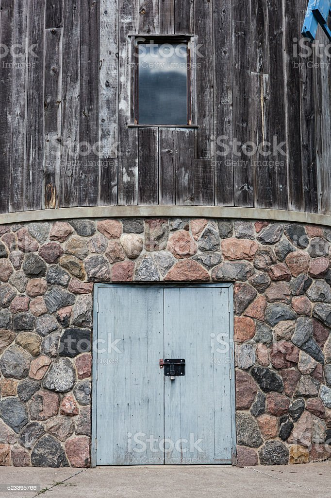 Old Windmill Exterior Wall Entrance stock photo