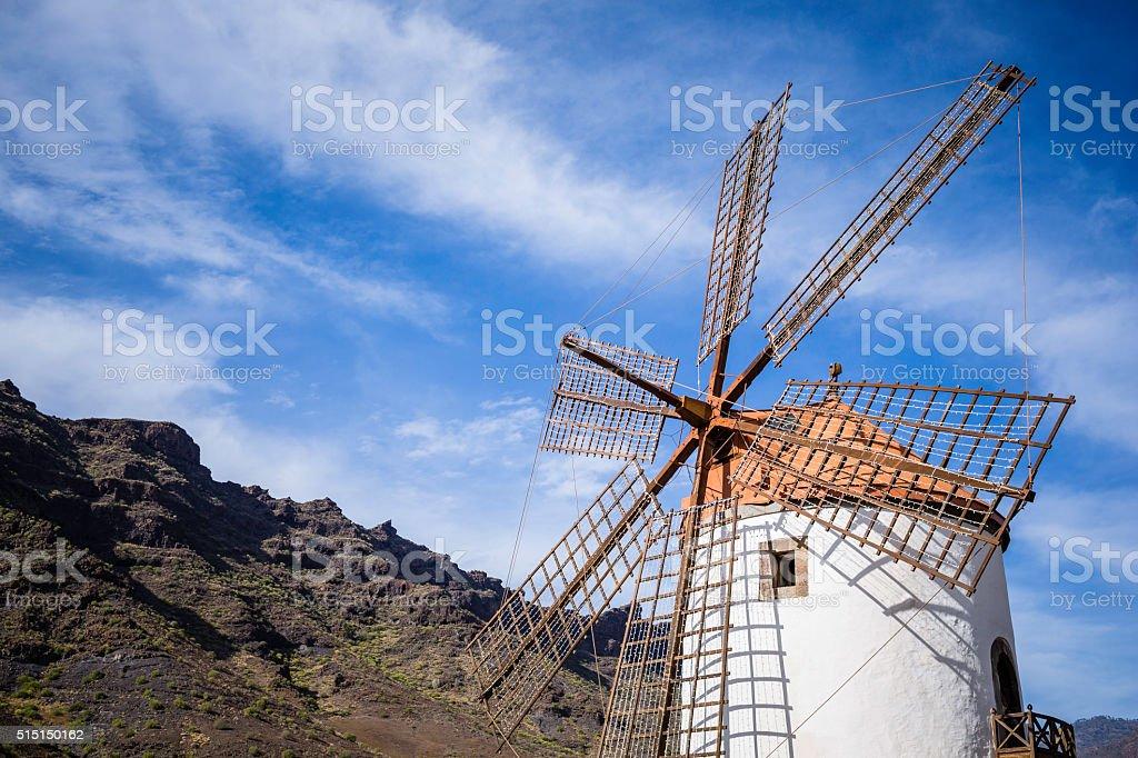 old windmill in Gran Canaria stock photo
