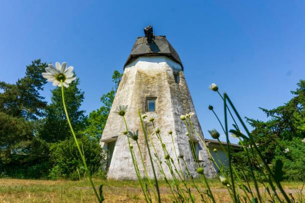 Old Windmill in green landscape of Bornholm, Denmark on a day in summer stock photo