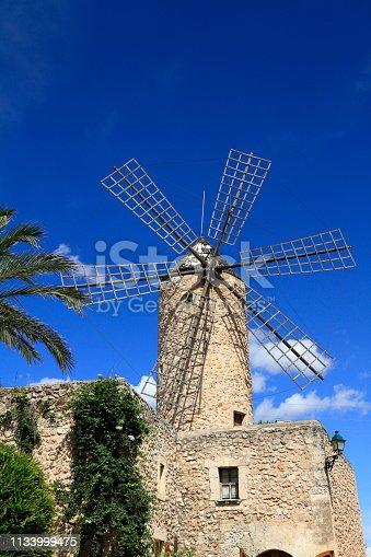 istock Old windmill in Sineu, Mallorca, Spain 1133999475