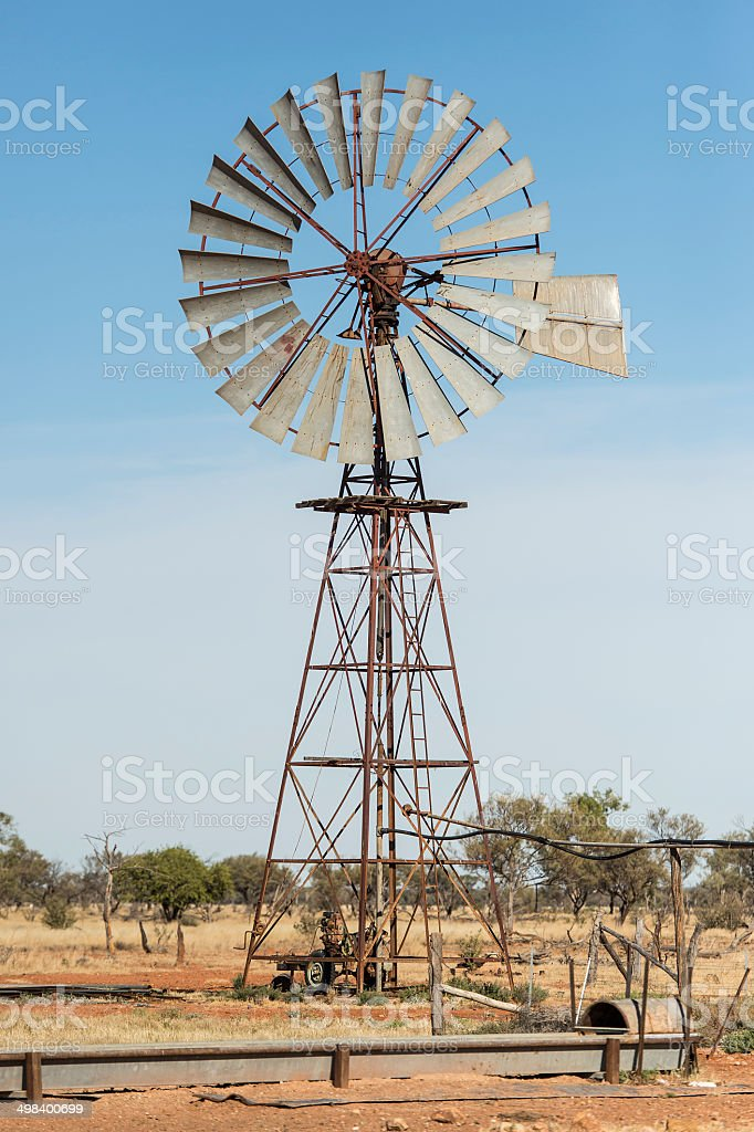 Old Windmill in the Australian Outback stock photo