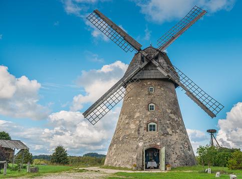 Old windmill in Vidzeme, Latvia, Europe