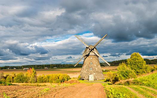 Old windmill in village of Araishi, Cesis, Latvia,