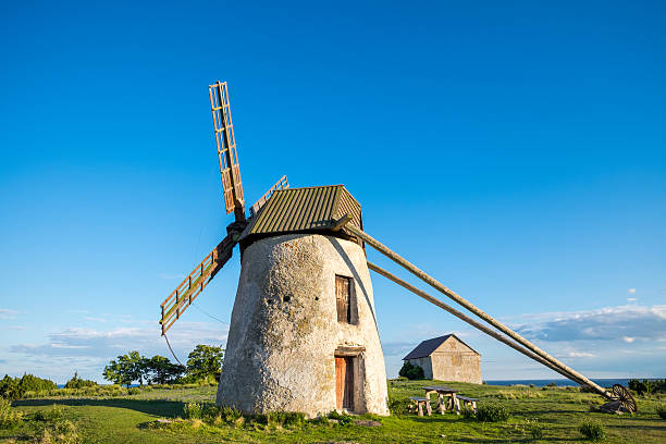Old windmill on Gotland in Sweden stock photo