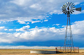 A windmill at Pawnee National Grassland on the Eastern Colorado Plains