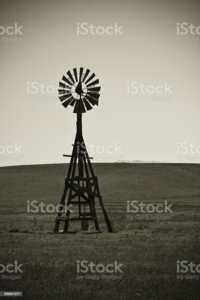 Old Windmill Silhouette royalty-free stock photo
