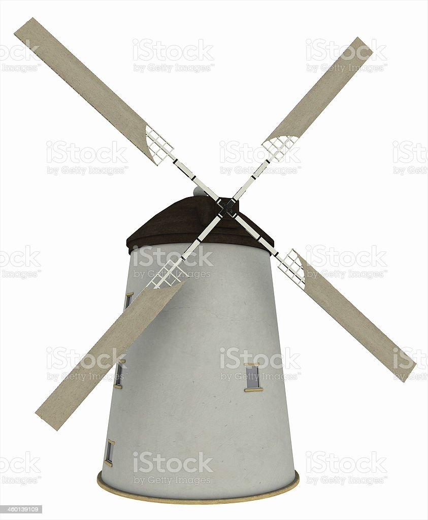 Old Windmill with Sails stock photo