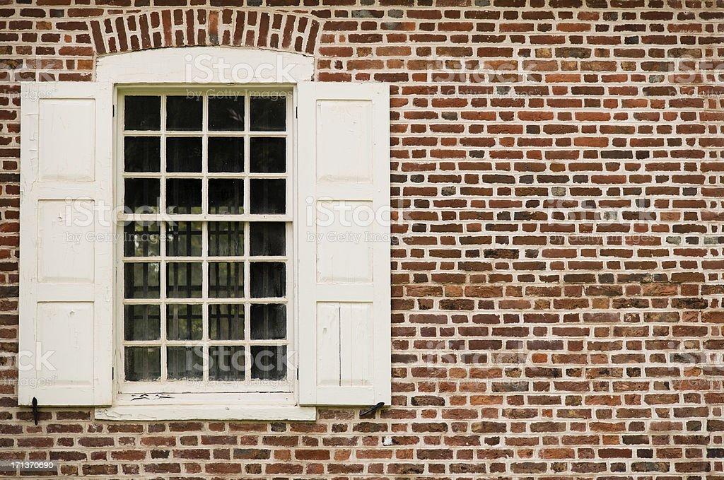 Old Window and Brick stock photo