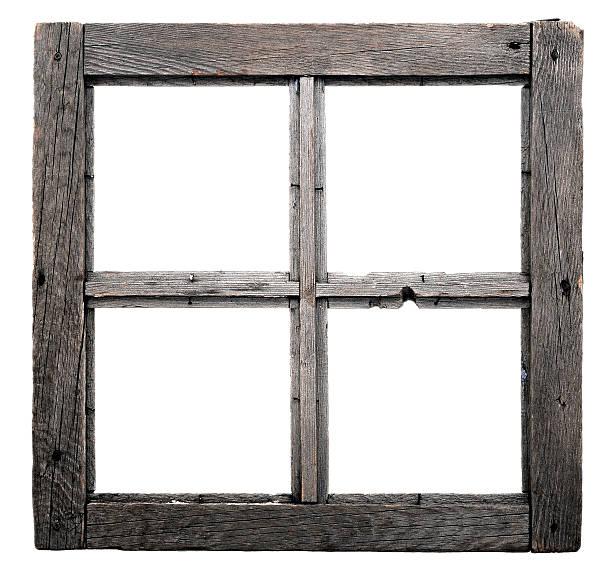 Old window frame isolated on white background. stock photo
