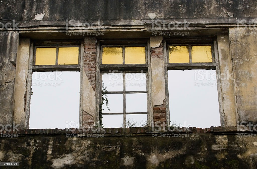 Old window frames, exterior view royalty-free stock photo