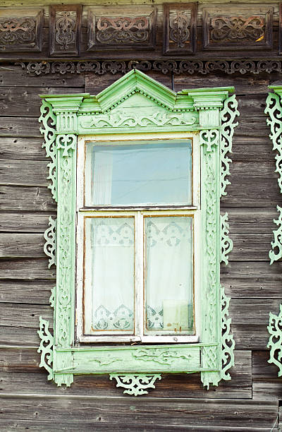 Old window in a rustic house stock photo