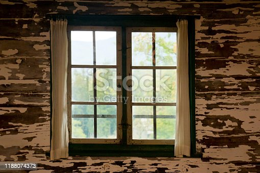 Old window in an old dark room