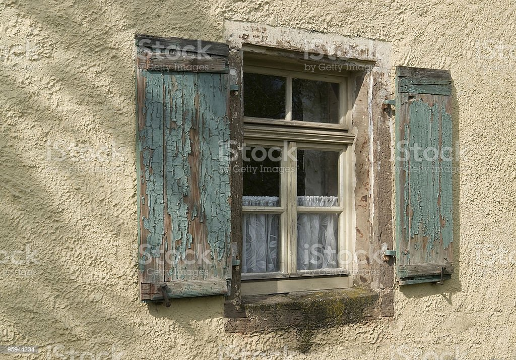 old window in plastered wall royalty-free stock photo